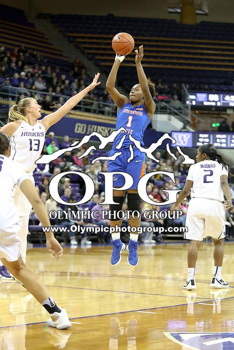 SEATTLE, WA - DECEMBER 18: Savannah State's #1 Caprisha Treadwell shoots a jumper gainst Washington.  Washington won 87-36 over Savannah State at Alaska Airlines Arena in Seattle, WA.