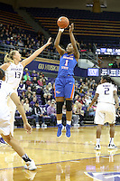 SEATTLE, WA - DECEMBER 18: Savannah State's #1 Caprisha Treadwell shoots a jumper gainst Washington.  Washington won 87-36 over Savannah State at Alaska Airlines Arena in Seattle, WA.