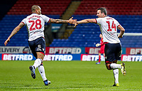 Bolton Wanderers' Jack Hobbs celebrates scoring his side's first goal with team mate Josh Magennis  <br /> <br /> Photographer Andrew Kearns/CameraSport<br /> <br /> The EFL Sky Bet Championship - Bolton Wanderers v Reading - Tuesday 29th January 2019 - University of Bolton Stadium - Bolton<br /> <br /> World Copyright © 2019 CameraSport. All rights reserved. 43 Linden Ave. Countesthorpe. Leicester. England. LE8 5PG - Tel: +44 (0) 116 277 4147 - admin@camerasport.com - www.camerasport.com