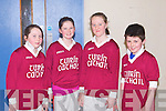 COUNTY FI NAL: The pupils of Tureencahill NS, Gneeveguilla at the Kerry handball primary schools county final at Tralee Sports Complex on Friday l-r: Racheal Fitzgerald, Brenda Murphy, JennY Sheehan and Morgan Daly...