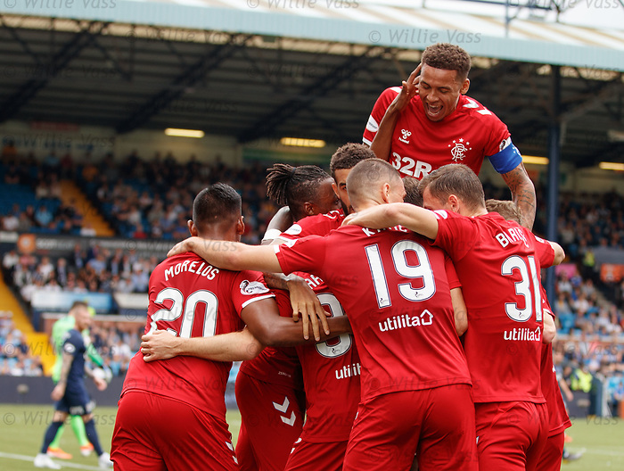 04.08.2019 Kilmarnock v Rangers: James Tavernier joins in with Scott Arfield