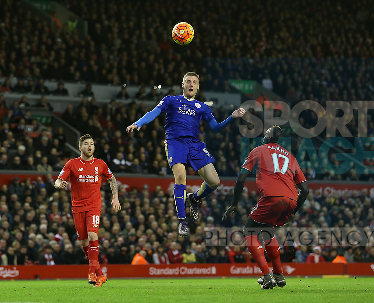 Leicester's Jamie Vardy fires a header over the bar<br /> <br /> Barclays Premier League- Liverpool vs Leicester City - Anfield - England - 26th December 2015 - Picture David Klein/Sportimage