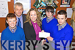 AWARDS: Presentation Secondary School Milltown students who won the award for the Best Idea in the Intermediate Category at the County Enterprise Board Student Enterprise Awards, l-r: Shane O'Sullivan, Mark Hanley (Teacher), Fiona Leahy (Enterprise Board), Michael Cruz, John Lawlor.