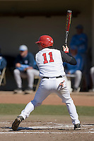 Greg Hopkins (11) of the St. John's Red Storm at bat versus the North Carolina Tar Heels at the 2008 Coca-Cola Classic at the Winthrop Ballpark in Rock Hill, SC, Sunday, March 2, 2008.