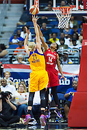 Washington, DC - July 22, 2016: Los Angeles Sparks center Ann Wauters (21) hits a hook shot over Washington Mystics guard Tierra Ruffin-Pratt (14) during their match up at the Verizon Center in Washington, DC. (Photo by Phil Peters/Media Images International)