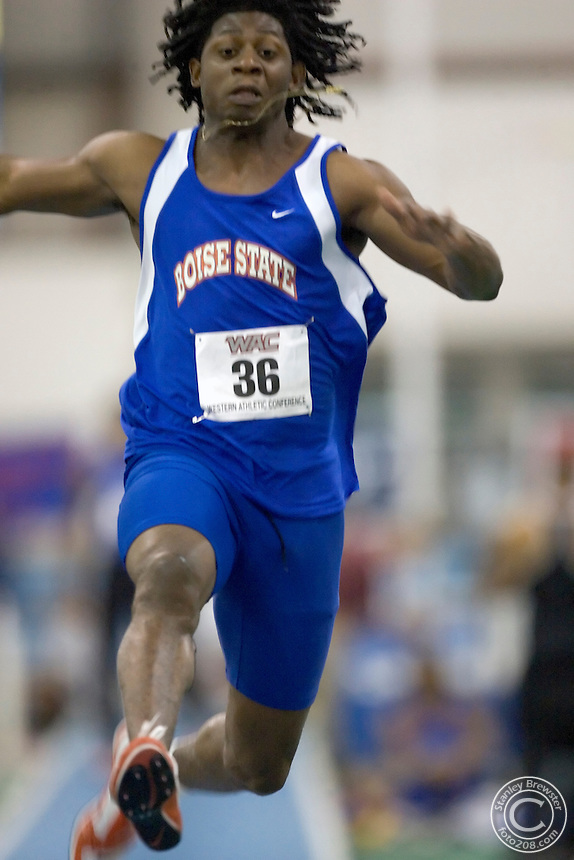 2-24-06.Nampa, ID. Boise State's Keron Francic picked up his second individual title in two days when he won the men's long jump with a mark of 25-2.75 (7.69m) during the WAC Indoor Track and Field Championsips at the Jackson's Track in Nampa, Id.