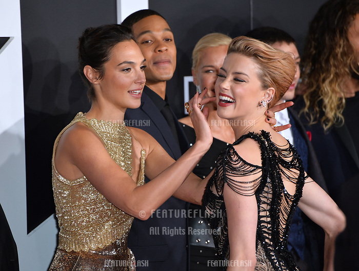 Gal Gadot, Ray Fisher &amp; Amber Heard at the world premiere for &quot;Justice League&quot; at The Dolby Theatre, Hollywood. Los Angeles, USA 13 November  2017<br /> Picture: Paul Smith/Featureflash/SilverHub 0208 004 5359 sales@silverhubmedia.com