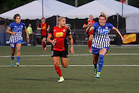 Rochester, NY - Friday June 24, 2016: Boston Breakers defender Kassey Kallman (5), Western New York Flash forward Adriana Leon (19) during a regular season National Women's Soccer League (NWSL) match between the Western New York Flash and the Boston Breakers at Rochester Rhinos Stadium.