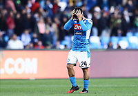 9th February 2020; Stadio San Paolo, Naples, Campania, Italy; Serie A Football, Napoli versus Lecce; Lorenzo Insigne of Napoli looks dejected as Lecce score for 3-1 in the 82nd minute from Mancuso