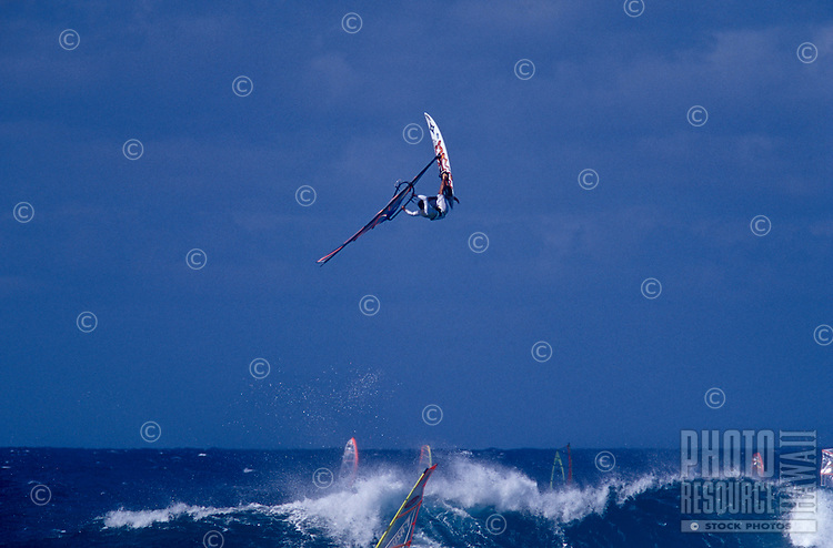 A wind surfer launches off a wave at Hookipa Beach Park where it is common to see some of the best wind surfers in the world when the conditions are good.