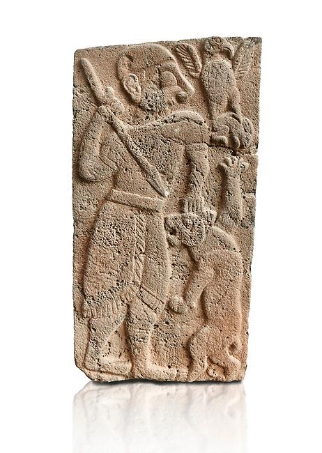 Pictures & images of the North Gate Hittite sculpture stele depicting Hittite God hunting a lion. 8th century BC. Karatepe Aslantas Open-Air Museum (Karatepe-Aslantaş Açık Hava Müzesi), Osmaniye Province, Turkey. Against white background
