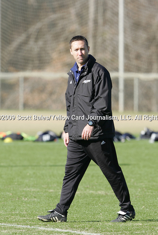 10 December 2009: Head coach Caleb Porter. The University of Akron Zips held a training session at Koka Booth Stadium at WakeMed Soccer Park in Cary, North Carolina on the day before playing North Carolina in an NCAA Division I Men's College Cup semifinal game.