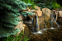 Waterfalls on small creek. Betty Ford Alpine Gardens. Vail Colorado