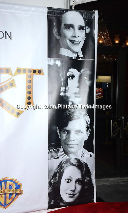 "The backdrop at the 40th Anniversary of ""Cabaret"" on January 31, 2013 at the Ziegfeld Theatre in New York City. The movie has been remastered and will be on Blu-Ray and DVD. The cast includes Michael York, Liza Minnelli, Joel Grey and Marisa Berenson"