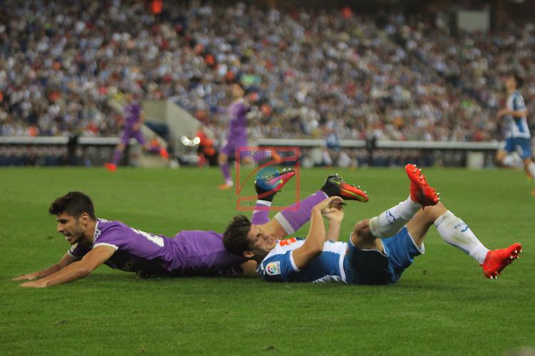 League Santander 2016/2017. Game: 4.<br /> RCD Espanyol vs R. Madrid: 0-2.<br /> Javi Lopez vs Marco Asensio.