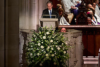 Former President George Bush becomes emotional while speaking during the State Funeral of his father, former President George H.W. Bush, at the National Cathedral, Wednesday, Dec. 5, 2018,  in Washington. <br /> CAP/MPI/RS<br /> &copy;RS/MPI/Capital Pictures