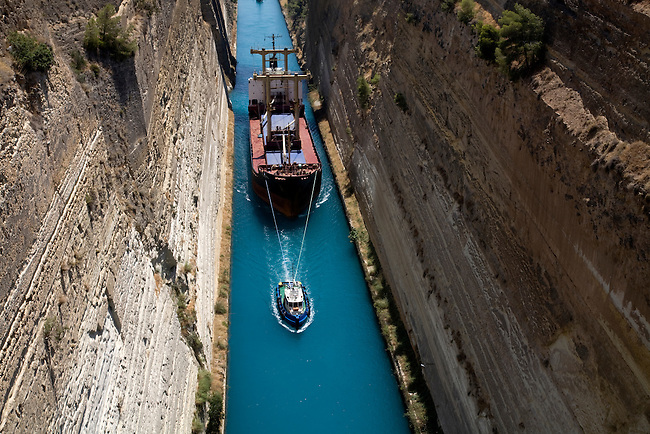 Corinth Canal Isthmus of Corinth  Pelponnese Greece