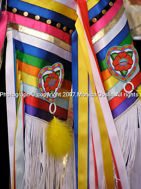 Detail of a woman's costume at the costume contest at the Indian Market in Santa Fe, New Mexico.