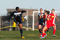 Sky Blue FC forward Danesha Adams (9). Sky Blue FC defeated the Western New York Flash 1-0 during a National Women's Soccer League (NWSL) match at Yurcak Field in Piscataway, NJ, on April 14, 2013.
