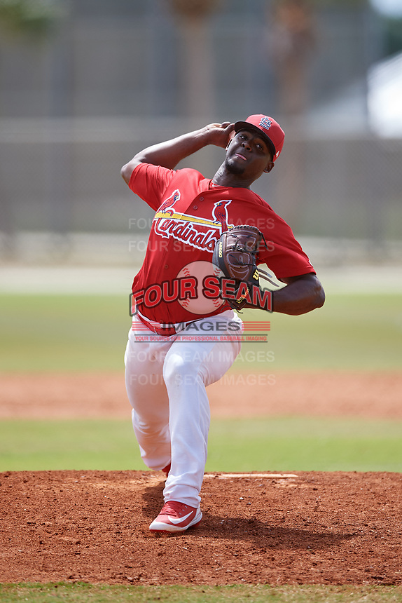 St. Louis Cardinals pitcher Ramon Santos (30) during a Minor League Spring Training game against the Miami Marlins on March 26, 2018 at the Roger Dean Stadium Complex in Jupiter, Florida.  (Mike Janes/Four Seam Images)