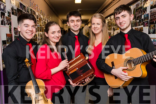 Fossa instrumental group l-r: Cian O'Sullivan, Mary Kelliher, Michael Kelliher, Amy Moriarty, Sean Kelliher at the Scor Sinsear county finals at Mhuire Gan Smal, Castleisland on Saturday night.