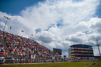 Sep 1, 2018; Clermont, IN, USA; Overall view of fans in the main grandstands alongside the timing tower suites during NHRA qualifying for the US Nationals at Lucas Oil Raceway. Mandatory Credit: Mark J. Rebilas-USA TODAY Sports