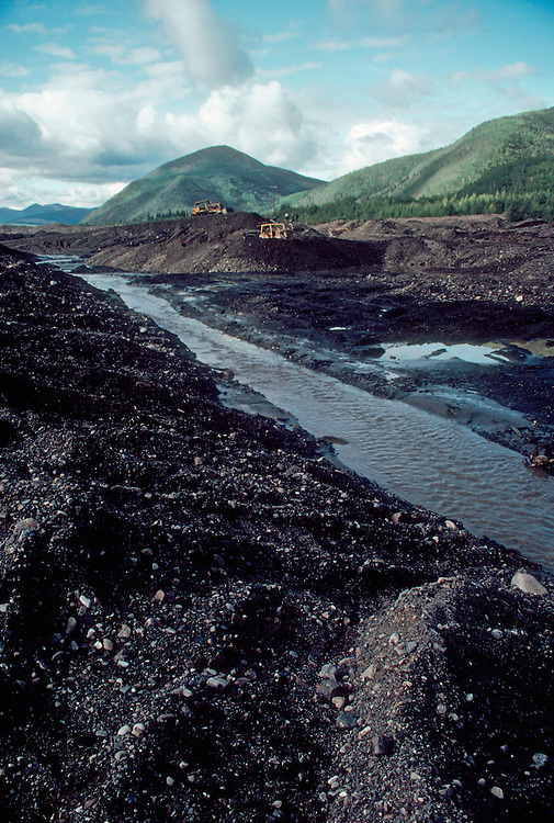 Alaska, Gold mine, Yukon Charley Rivers National Preserve, inholding, surface mine devastates a stream, United States.
