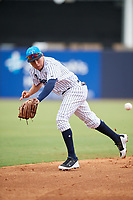 Tampa Tarpons shortstop Diego Castillo (19) fields a ground ball during a game against the Lakeland Flying Tigers on April 8, 2018 at George M. Steinbrenner Field in Tampa, Florida.  Lakeland defeated Tampa 3-1.  (Mike Janes/Four Seam Images)