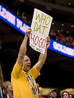 "Fan holds up a sign saying ""Who Dat Hogs!"" during 77th Annual Allstate Sugar Bowl Classic at Louisiana Superdome in New Orleans, Louisiana on January 4th, 2011.  Ohio State defeated Arkansas, 31-26."