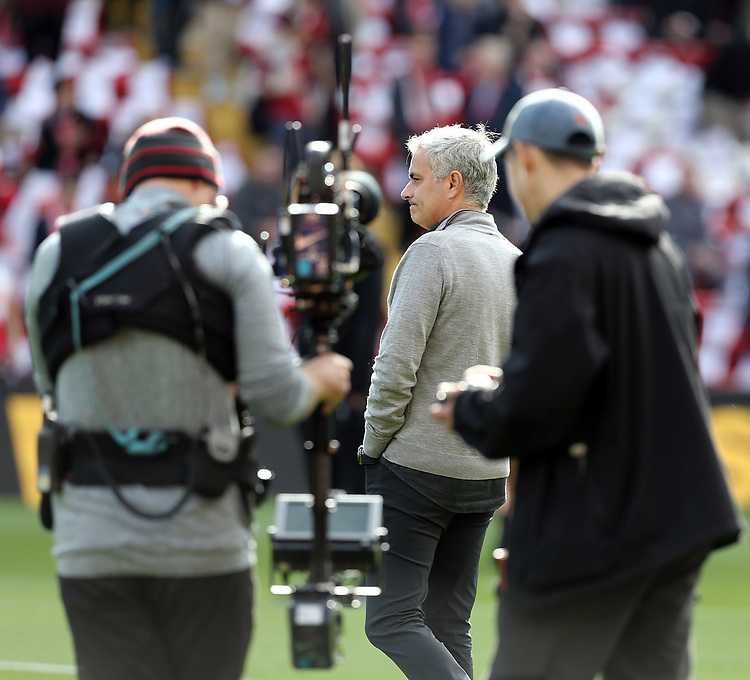 Manchester United manager Jose Mourinho during the pre-match warm-up <br /> <br /> Photographer Rich Linley/CameraSport<br /> <br /> The Premier League - Liverpool v Manchester United - Saturday 14th October 2017 - Anfield - Liverpool<br /> <br /> World Copyright &copy; 2017 CameraSport. All rights reserved. 43 Linden Ave. Countesthorpe. Leicester. England. LE8 5PG - Tel: +44 (0) 116 277 4147 - admin@camerasport.com - www.camerasport.com
