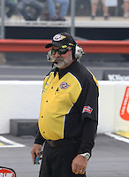 May 11, 2013; Commerce, GA, USA: NHRA official starter Mark Lyle during the Southern Nationals at Atlanta Dragway. Mandatory Credit: Mark J. Rebilas-