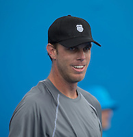 Sam Querrey (USA)<br /> <br /> Tennis - APIA International  - Sydney -  Olympic Park  -  Holmbush - Australia  - Tuesday 7th January 2014. <br /> <br /> &copy; AMN Images, 8 Cedar Court, Somerset Road, London, SW19 5HU<br /> Tel - +44 7843383012<br /> mfrey@advantagemedianet.com<br /> www.amnimages.photoshelter.com<br /> www.advantagemedianet.com<br /> www.tennishead.net