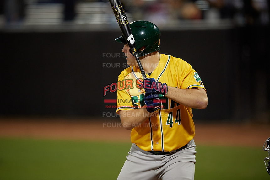 Siena Saints Matt Livingston (44) bats during a game against the UCF Knights on February 14, 2020 at John Euliano Park in Orlando, Florida.  UCF defeated Siena 2-1.  (Mike Janes/Four Seam Images)