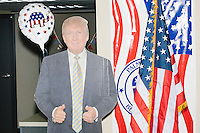 A cardboard cutout of Donald Trump stands in the Palm Beach Republican Club and West Palm Beach Victory Headquarters office in West Palm Beach, Florida. The office serves as a place for volunteers to gather and organize for various Republican campaigns, including Donald Trump's general election campaign.