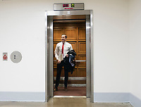 15 May 2018 - US House members have been sleeping in their offices and working out and hshowering before work. File Photo: United States Representative Seth Moulton (Democrat of Massachusetts) in the elevator outside the US House Members Gym in the Rayburn House Office Building on Tuesday, March 20, 2018. Photo Credit: Ron Sachs/CNP/AdMedia