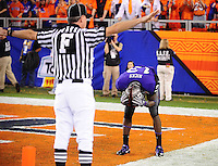 Jan. 4, 2010; Glendale, AZ, USA; TCU Horned Frogs wide receiver (13) Antoine Hicks reacts after dropping a pass in the end zone in the fourth quarter against the Boise State Broncos in the 2010 Fiesta Bowl at University of Phoenix Stadium. Boise State defeated TCU 17-10. Mandatory Credit: Mark J. Rebilas-