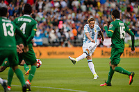 Seattle, WA - Tuesday June 14, 2016: Argentina midfielder Lucas Biglia (6) takes a shot on goal during a Copa America Centenario Group D match between Argentina (ARG) and Bolivia (BOL) at CenturyLink Field
