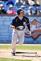 Myrtle Beach Pelicans catcher Jorge Alfaro (24) runs to first during a game against the Wilmington Blue Rocks on April 27, 2014 at Frawley Stadium in Wilmington, Delaware.  Myrtle Beach defeated Wilmington 5-2.  (Mike Janes/Four Seam Images)