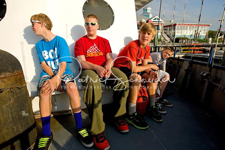 Troop 10 Boy Scout deep-sea fishing trip about 15 miles off the South Carolina coast near Huntington Beach State Park.