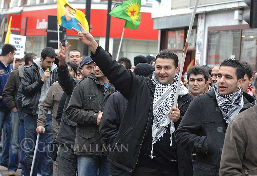Members of the UK Kurdish community march in Dalston against the incursion of Turkish troops into northern Iraq.