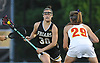 Sabrina Cristodero #30 of St. Anthony's, left, looks to get into shooting position during the Nassau-Suffolk CHSAA varsity girls lacrosse Class AAA final against Sacred Heart Academy at Adelphi University on Thursday, May 18, 2017. She scored four goal in the Lady Friars' 11-7 win.
