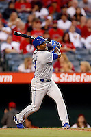 Miguel Tejada #24 of the Kansas City Royals bats against the Los Angeles Angels at Angel Stadium on May 14, 2013 in Anaheim, California. (Larry Goren/Four Seam Images)