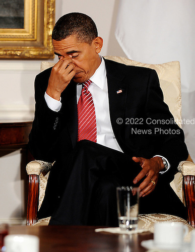 New York, NY - September 23, 2009 -- United States President Barack Obama listens to remarks of Prime Minister Yukio Hatoyama of Japan during a bilateral meeting at the Waldorf Astoria on Wednesday, September 23, 2009 in New York..Credit: Olivier Douliery - Pool via CNP