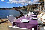 Waterside restaurant table, Isleta de Moro village, Cabo de Gata natural park, Nijar, Almeria, Spain