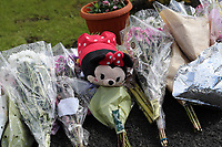 "COPY BY TOM BEDFORD<br /> Pictured: Flowers left at the scene where Pearl Black was hit by a car in Heolgerrig, Merthyr Tydfil, Wales, UK. Friday 18 August 2017<br /> Re: The funeral of a toddler who died after a parked Range Rover's brakes failed and it hit a garden wall which fell on top of her will be held today at Merthyr Tydfil.<br /> One year old Pearl Melody Black and her eight-month-old brother were taken to hospital after the incident in south Wales.<br /> Pearl's family, father Paul who is The Voice contestant and mum Gemma have said she was ""as bright as the stars""."