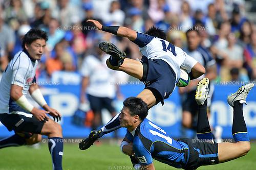 (L to R) Shinji Nakazono (Jubilo), Akihito Yamada (Wild Knights), .OCTOBER 13, 2012 - Rugby : Japan Rugby Top League 2012-2013, 6th Sec match between Panasonic Wild Knights 35-18 YAMAHA Jubilo at Chichibunomiya Rugby Stadium, Tokyo, Japan. (Photo by Jun Tsukida/AFLO SPORT) [0003].