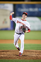 Harrisburg Senators relief pitcher Erick Fedde (22) delivers a warmup pitch during a game against the Bowie Baysox on May 16, 2017 at FNB Field in Harrisburg, Pennsylvania.  Bowie defeated Harrisburg 6-4.  (Mike Janes/Four Seam Images)