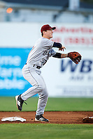 Mahoning Valley Scrappers second baseman Joe Wendle #13 attempts to turn a double play during a NY-Penn League game against the Batavia Muckdogs at Dwyer Stadium on August 22, 2012 in Batavia, New York.  Batavia defeated Mahoning Valley 3-2.  (Mike Janes/Four Seam Images)