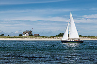 Stage Harbor Lighthouse, Chatham, Cape Cod, Massachusetts, USA. Also known as Harding's Beach Lighthouse.