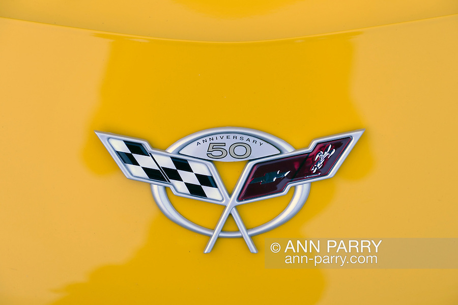 Bellmore, New York, USA. 12th June 2015. Closeup of 50th Anniversary emblem of crosssed racing flags on modified yellow 2003 Corvette, a car owned by Grey Cherveny of Bay Shore, is displayed at the Friday Night Car Show held at the Bellmore Long Island Railroad Station Parking Lot. Hundreds of classic, antique, and custom cars were on view at the free weekly show, sponsored by the Chamber of Commerce of the Bellmores.